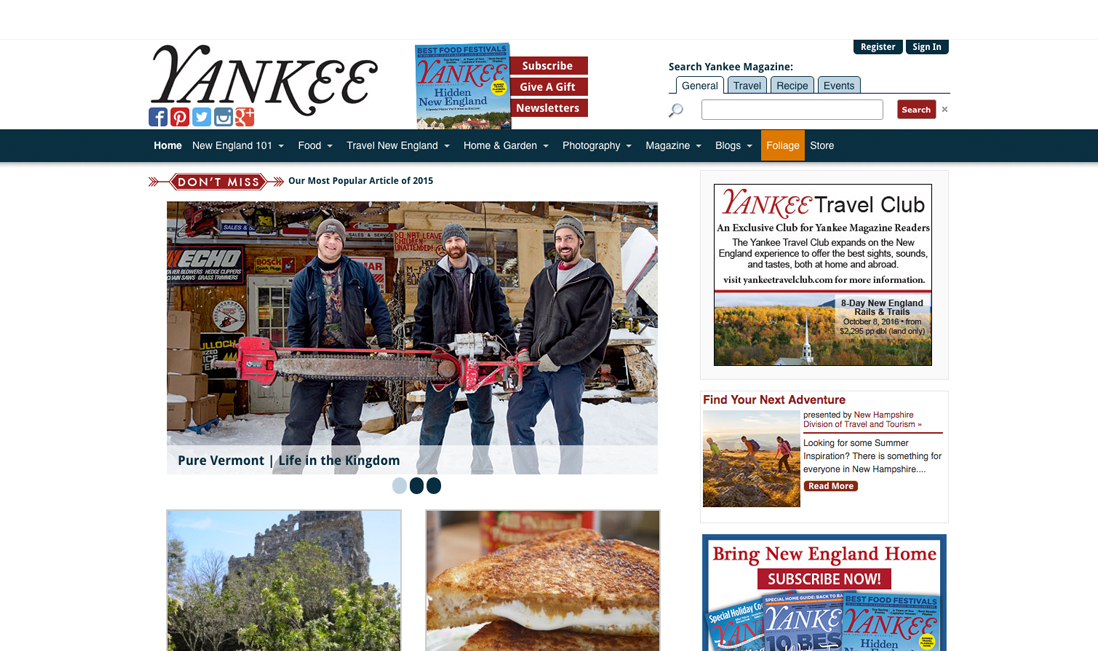 Yankee Magazine WordPress Homepage Redesign
