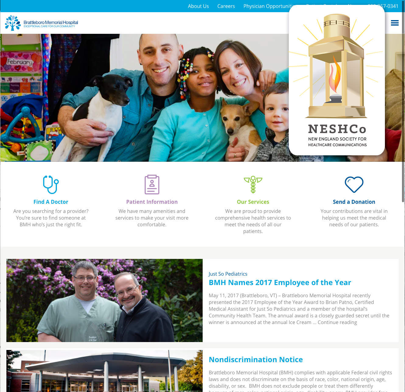 Brattleboro Memorial Hospigal Website Design wins Gold!